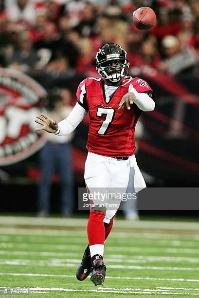 Michael Vick of the Atlanta Falcons throws the ball November 14, 2004 at the Georgia Dome in Atlanta, Georgia.