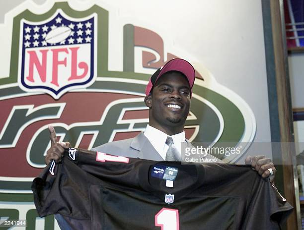 Michael Vick was the top pick by the Atlanta Falcons and the pick overall in the NFL Draft 2001 at Madison Square Garden in New York City on...