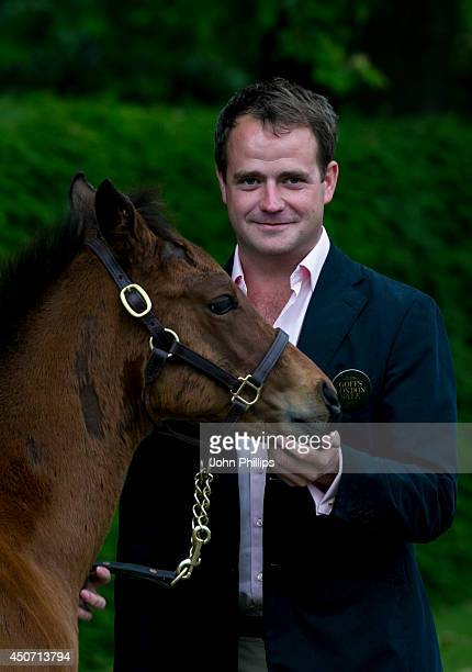 Michael Vincent Magnier poses with unnamed threemonthold foal fathered by racehorse Frankel and Mother Crystal Gaze at The Orangery on June 16 2014...