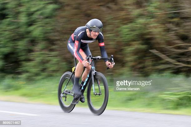 Michael Vink of Christchurch Mike Greer Homes finishes first in the individual time trials at Winton during stage 6 of the 2017 Tour of Southland on...