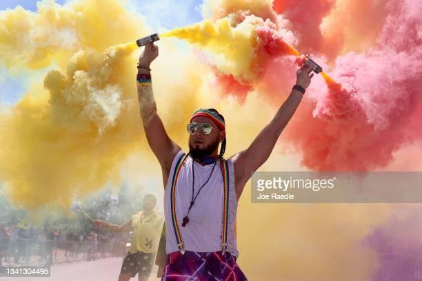 Michael Vivanco participates in the Miami Beach Pride Parade along Ocean Drive on September 19, 2021 in Miami Beach, Florida. The annual event was...