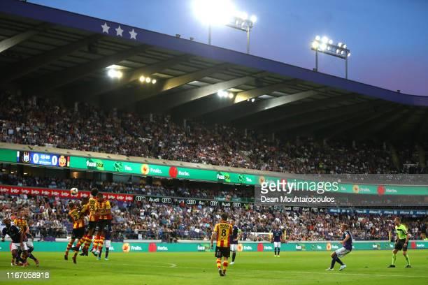 Michael Vlap of Anderlecht takes a free kick during the Jupiler Pro League match between RSC Anderlecht and KV Mechelen at Constant Vanden Stock...