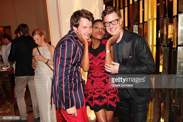 Michael von Hassel Stephanie Simbeck and Florian Simbeck attend the Eclat Dore summer party at Hotel Vier Jahreszeiten Kempinski on July 23 2014 in...