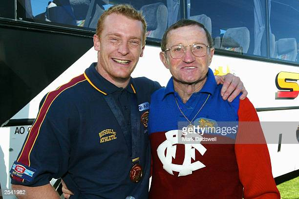 Michael Voss captain of the Lions and former Lion great and Brownlow Medallist Kevin Murray during an after match function at Brunswick St Oval on...