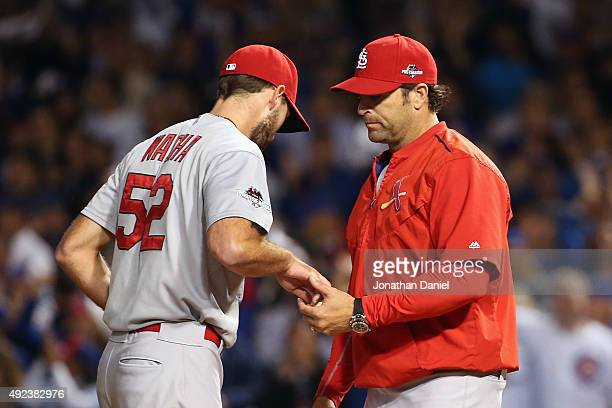 Michael Wacha of the St Louis Cardinals is relieved in the fifth inning against the Chicago Cubs during game three of the National League Division...