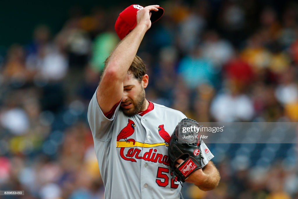 Michael Wacha #52 of the St. Louis Cardinals reacts after giving up a home run in the second inning against the Pittsburgh Pirates at PNC Park on August 19, 2017 in Pittsburgh, Pennsylvania.