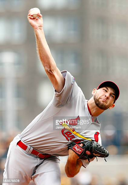 Michael Wacha of the St Louis Cardinals throws a pitch in the first inning against the Pittsburgh Pirates during Game Four of the National League...