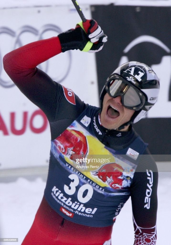 Michael Walchhofer of Austria celebrates his win at the Hahnenkamm Race on January 21, 2006 in Kitzbuehel, Austria