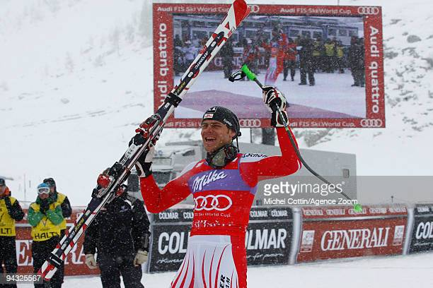 Michael Walchhofer of Austria takes 1st place during the Audi FIS Alpine Ski World Cup Men's Super G on December 12, 2009 in Val d'Isere, France.