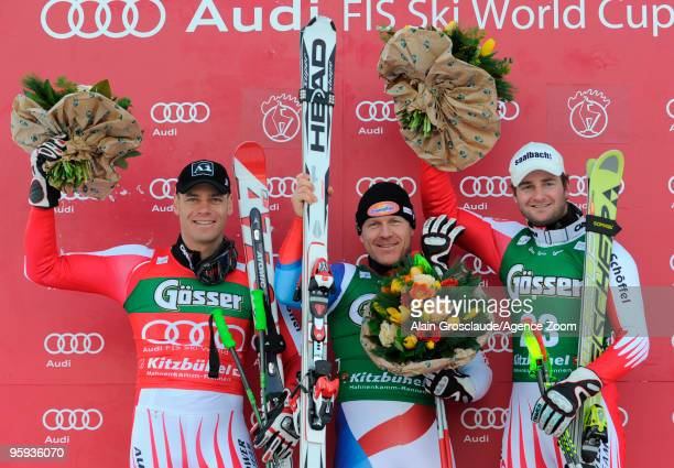 Michael Walchofer / Didier Cuche / Georg Streitberger during the podium of the Audi FIS Alpine Ski World Cup Mens Super G on January 22 2010 in...