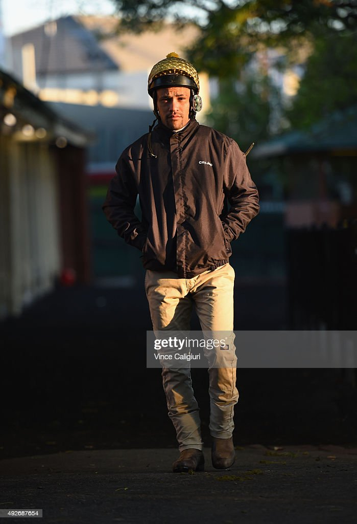 Michael Walker leaves the track after riding Criterion during a trackwork session at Moonee Valley Racecourse on October 15, 2015 in Melbourne, Australia.