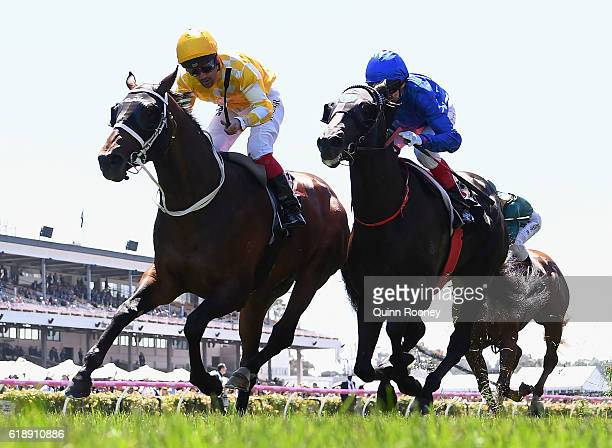 Michael Walker rides Comin' Through to win race one the Carbine Club Stakes on Derby Day at Flemington Racecourse on October 29 2016 in Melbourne...