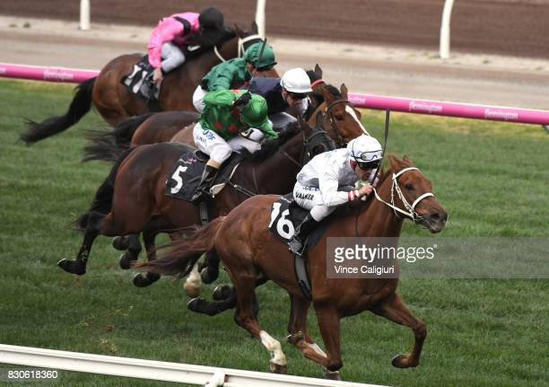 Michael Walker riding Alward wins Race 8 during Melbourne Racing at Flemington Racecourse on August 12 2017 in Melbourne Australia