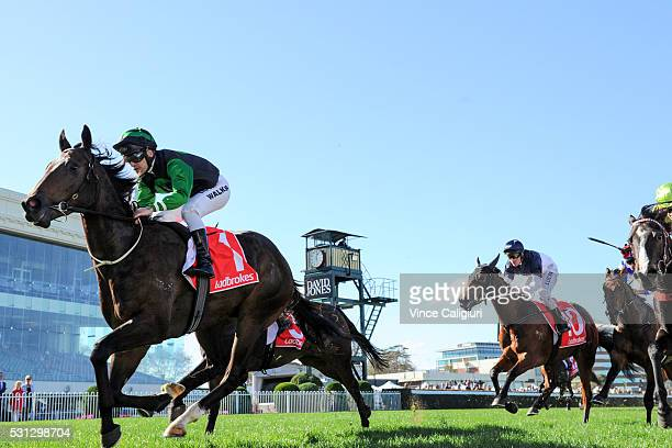 Michael Walker riding Blue Tycoon wins Race 2 during Melbourne racing at Caulfield Racecourse on May 14 2016 in Melbourne Australia