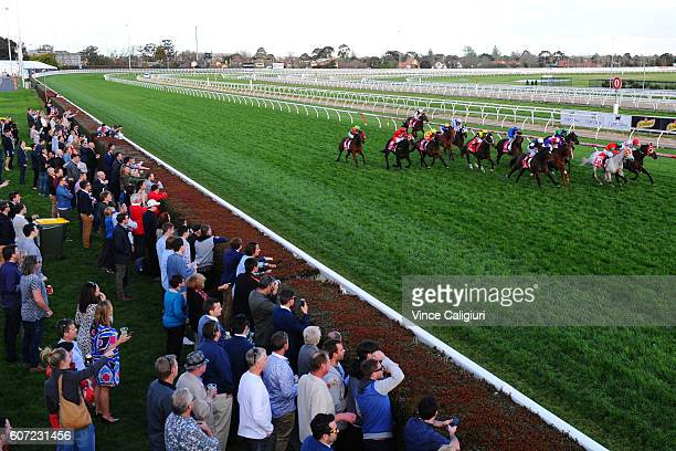 Michael Walker riding Freshwater Storm wins Race 10 during Melbourne Raving at Caulfield Racecourse on September 17 2016 in Melbourne Australia