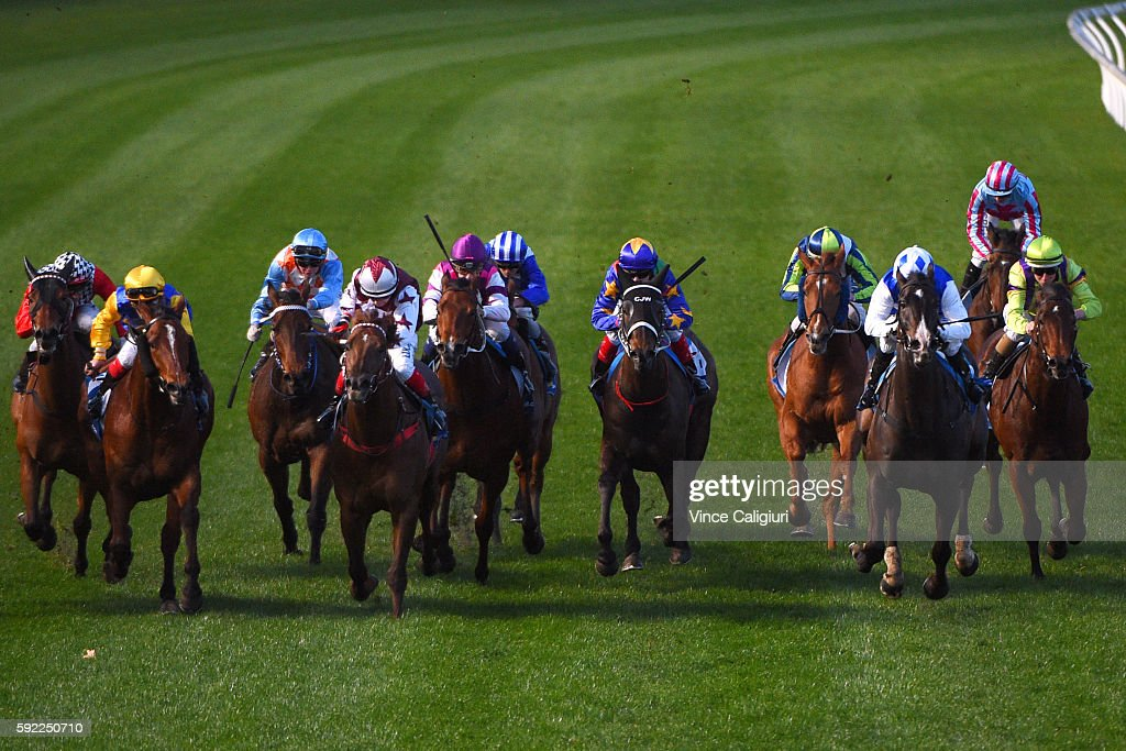Michael Walker riding Just Magical (Yellow,blue) wins Race 9 during Melbourne Racing at Moonee Valley Racecourse on August 20, 2016 in Melbourne, Australia.
