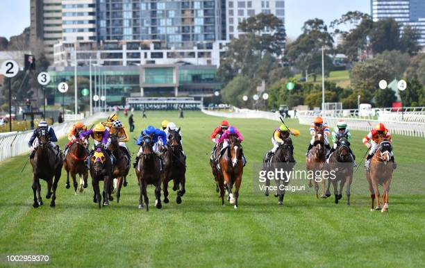 Ethan Brown is seen before winning the apprentices series during Melbourne Racing at Flemington Racecourse on July 21 2018 in Melbourne Australia