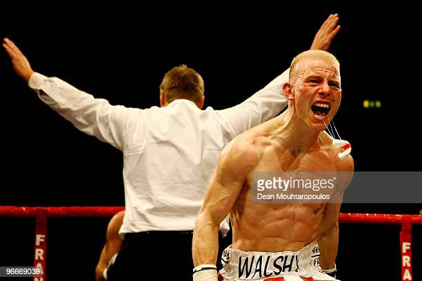 Michael Walsh of Cromer celebrates knock-out victory over Najid Ali of Cardiff after their Bantamweight bout at Wembley Arena on February 13, 2010 in...