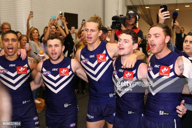 Michael Walters Hayden Ballantyne Nathan Fyfe Lachie Neale and Nathan Wilson of the Dockers celebrate winning the round five AFL match between the...