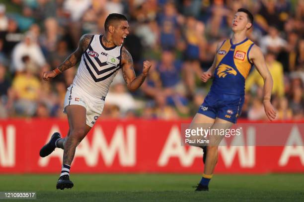Michael Walters of the Dockers celebrates a goal during the 2020 Marsh Community Series AFL match between the West Coast Eagles and the Fremantle...