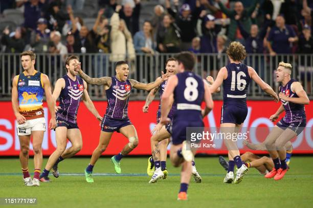 Michael Walters of the Dockers celebrates after kicking a point to win the game during the round 10 AFL match between the Fremantle Dockers and the...