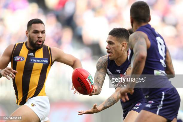 Michael Walters of the Dockers handballs to Bradley Hill during the round 19 AFL match between the Fremantle Dockers and the Hawthorn Hawks at Optus...