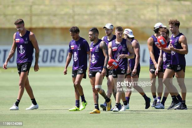 Michael Walters of the Dockers leaves the field at the end of training during a Fremantle Dockers AFL training session at Victor George Kallis Oval...