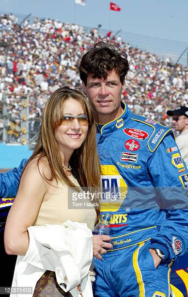 Michael Waltrip and wife Buffy during the NASCAR Winston Cup Series Checker Auto Parts 500 at Phoenix International Raceway in Phoenix Arizona