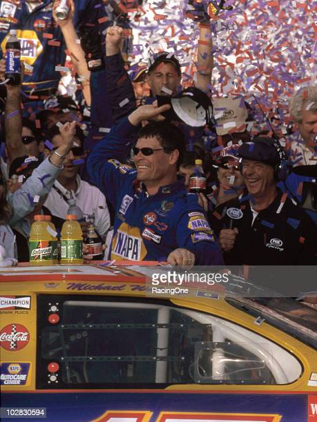 Michael Waltrip celebrates his first ever NASCAR Cup Series win despite his the teamÕs and everyoneÕs overall despair over the tragic loss of Dale...
