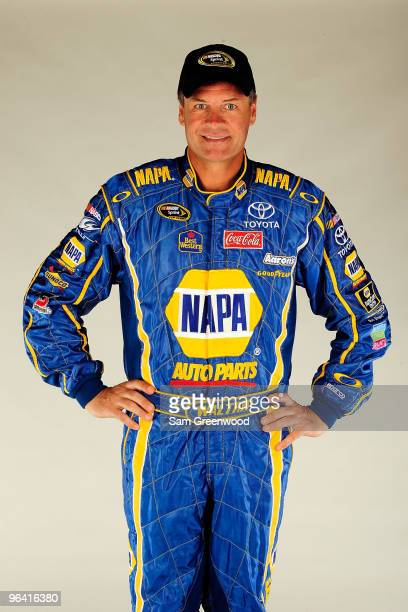 Michael Waltrip driver of the NAPA Auto Parts Toyota poses during NASCAR media day at Daytona International Speedway on February 4 2010 in Daytona...