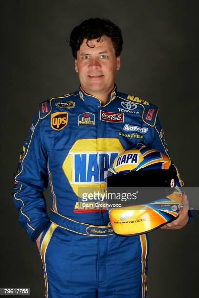 Michael Waltrip driver of the NAPA Auto Parts Toyota poses for a photo during the NASCAR Sprint Cup Series media day at Daytona International...