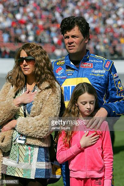 Michael Waltrip driver of the NAPA Dodge stands with his wife Buffy and his daughter Macy prior to the Gatorade Duel at Daytona International...