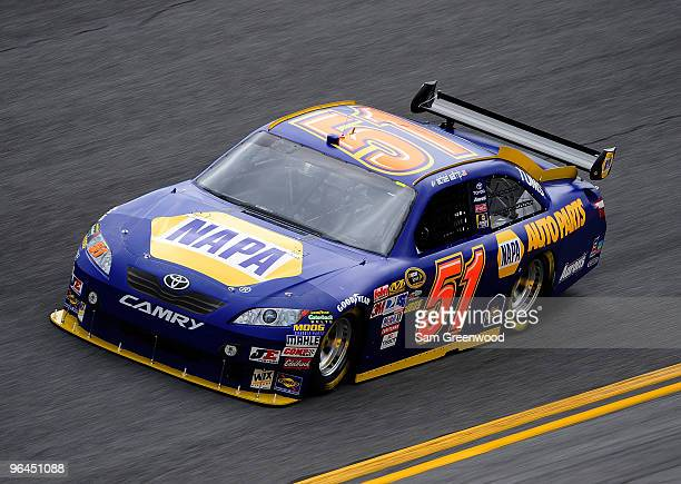 Michael Waltrip drives the NAPA Auto Parts Toyota during practice for the NASCAR Sprint Cup Series Daytona 500 at Daytona International Speedway on...