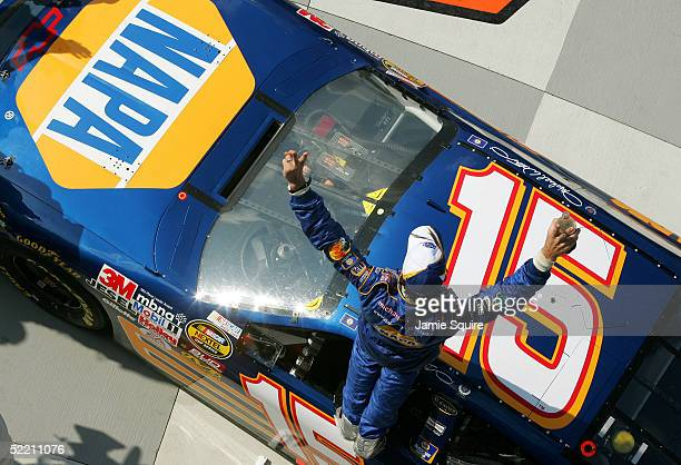 Michael Waltrip emerges victorious from the DEI NAPA Auto Parts Chevrolet after after he won the first Gatorade Duel race at the NASCAR Nextel Cup...