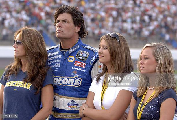 Michael Waltrip with wife Buffy and daughters Caitlin and Margaret before the Carquest Auto Parts 300 Busch series race on May 26 2006 at Lowe's...