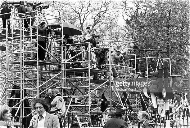 Michael Ward and press photographers set up to capture the Iranian Embassy siege