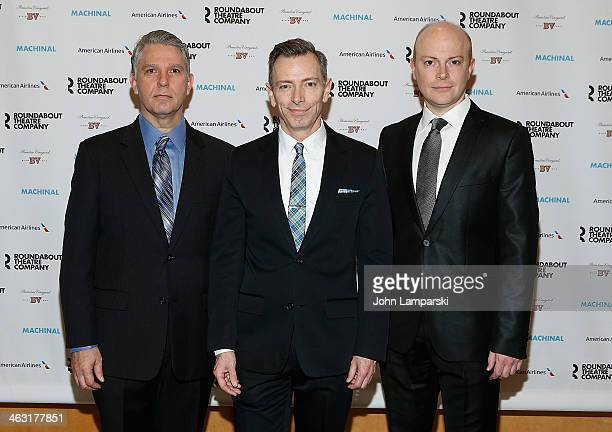 Michael Warner Arnie Burton and Jeff Biehl attend the Broadway opening night of Machinal at American Airlines Theatre on January 16 2014 in New York...