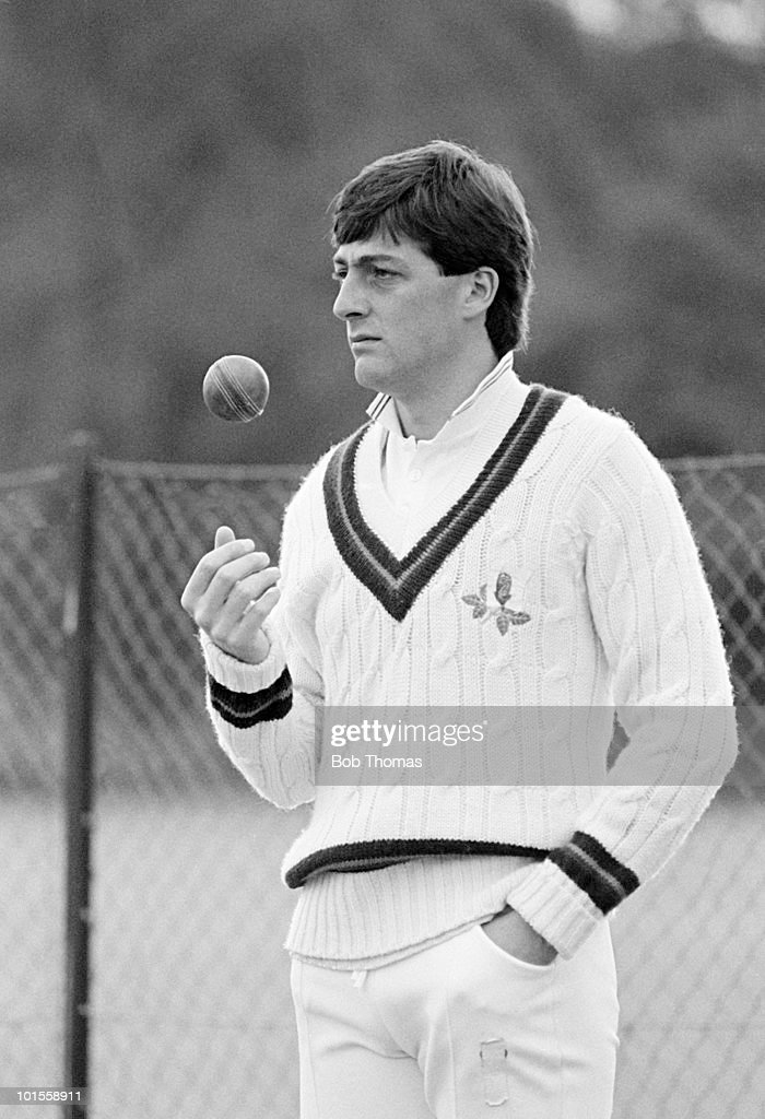 Michael Watkinson of Lancashire pictured during a County Championship cricket match against Worcestershire held at New Road, Worcester on 22nd May 1986. Lancashire won by 3 runs. (Bob Thomas/Getty Images).