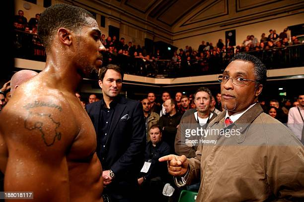 Michael Watson congratulates Anthony Joshua after his Heavyweight victory over Hrvoije Kisicek at York Hall on November 14, 2013 in London, England.