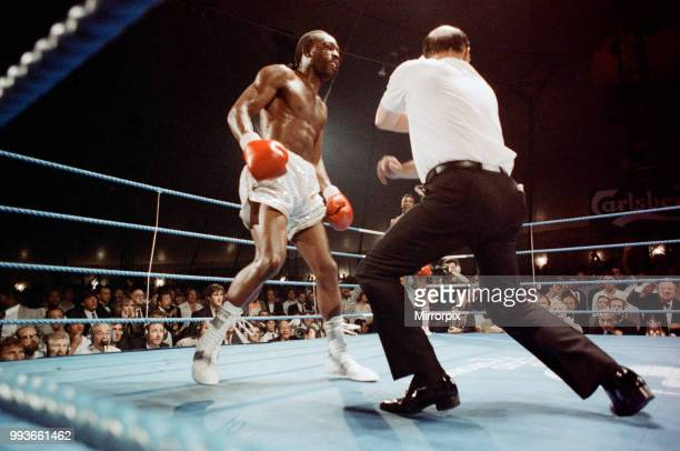 Michael Watson vs Nigel Benn for the British Commonwealth middleweight title The fight was held outdoors in Finsbury Park north London Watson...