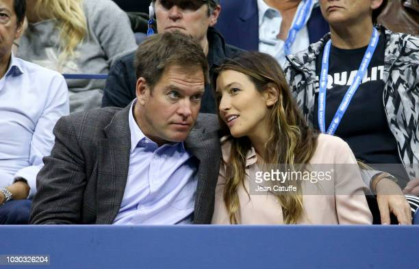 Michael Weatherly and Bojana Jankovic attend the men's final on day 14 of the 2018 tennis US Open on Arthur Ashe stadium at the USTA Billie Jean King...