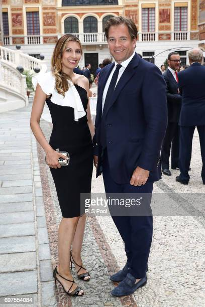 Michael Weatherly and wife Bojana Jankovic attend the cocktail party of the 57th Monte Carlo TV Festival at the Monaco Palace on June 18 2017 in...