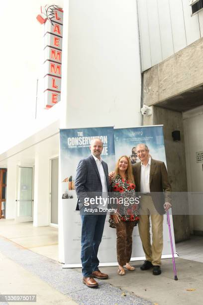 """Michael Webber, Carole Baskin and Howard Baskin attend the Los Angeles theatrical premiere of """"The Conservation Game"""" on August 28, 2021 in Santa..."""