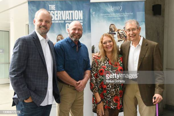 """Michael Webber, Tim Harrison, Carole Baskin and Howard Baskin attend the Los Angeles theatrical premiere of """"The Conservation Game"""" on August 28,..."""