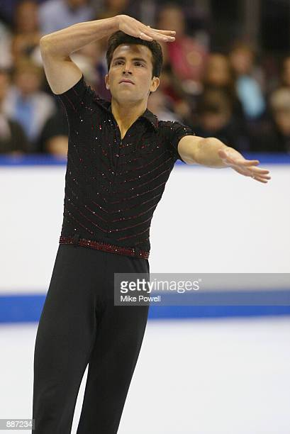 Michael Weiss of the USA competes during the men's short program of the State Farm US Figure Skating Championships on Janaury 25 2002 at the Staples...