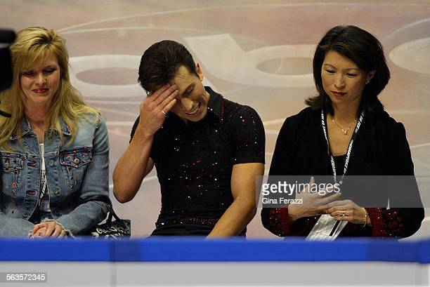 Michael Weiss shows his disappointment after falling twice during his Men's Short Program performance at the US Figure Skating Championships at...