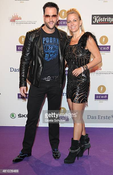 Michael Wendler and his wife Claudia pose on the red carpet prior the Echo award 2014 at Messe Berlin on March 27, 2014 in Berlin, Germany.