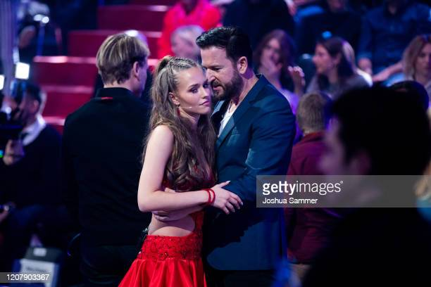 Michael Wendler and Laura Mueller are seen on stage during the preshow Wer tanzt mit wem Die grosse Kennenlernshow of the television competition...