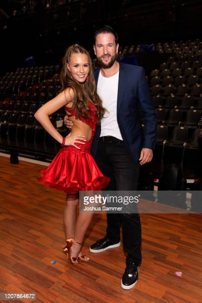 Michael Wendler and Laura Mueller pose on stage during the preshow Wer tanzt mit wem Die grosse Kennenlernshow for the television competition Let's...