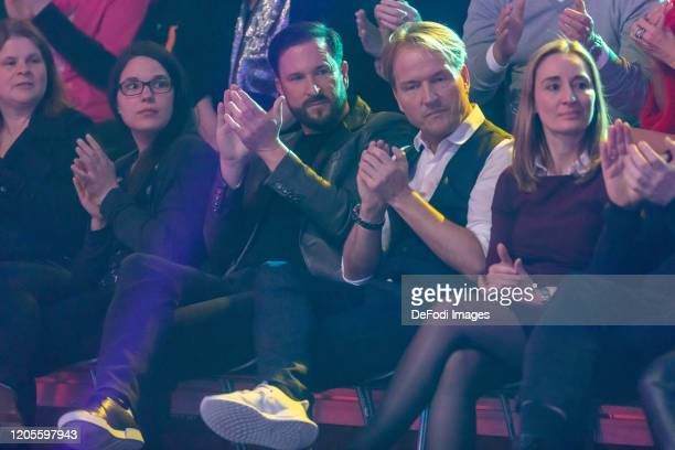 Michael Wendler and Markus Krampe looks on during the 2nd show of the 13th season of the television competition Let's Dance on March 6 2020 in...